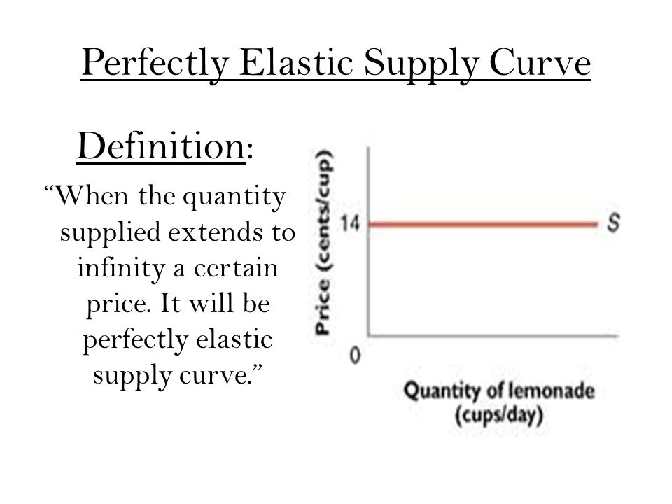 "Perfectly Elastic Supply Curve Definition: ""When the quantity supplied extends to infinity a certain price. It will be perfectly elastic supply curve."