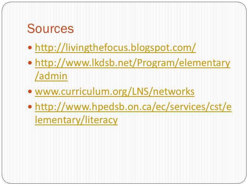 Sources http://livingthefocus.blogspot.com/ http://www.lkdsb.net/Program/elementary /admin http://www.lkdsb.net/Program/elementary /admin www.curricul