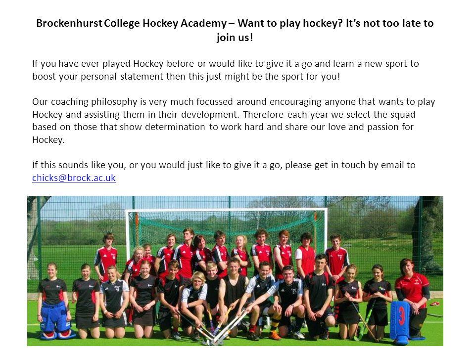 Brockenhurst College Hockey Academy – Want to play hockey.