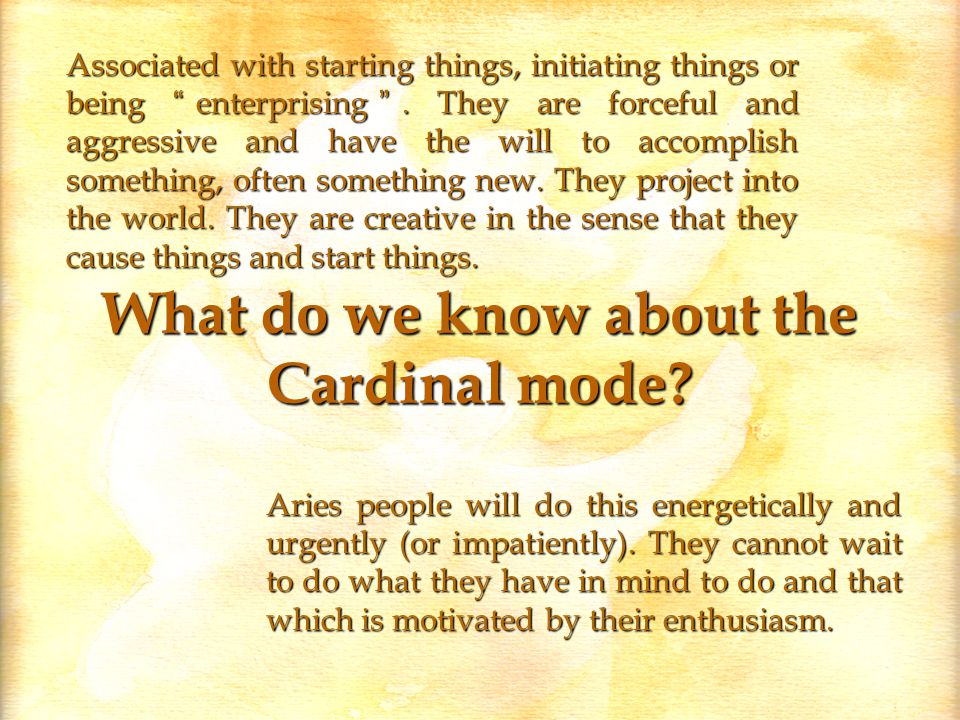 What do we know about the Cardinal mode.