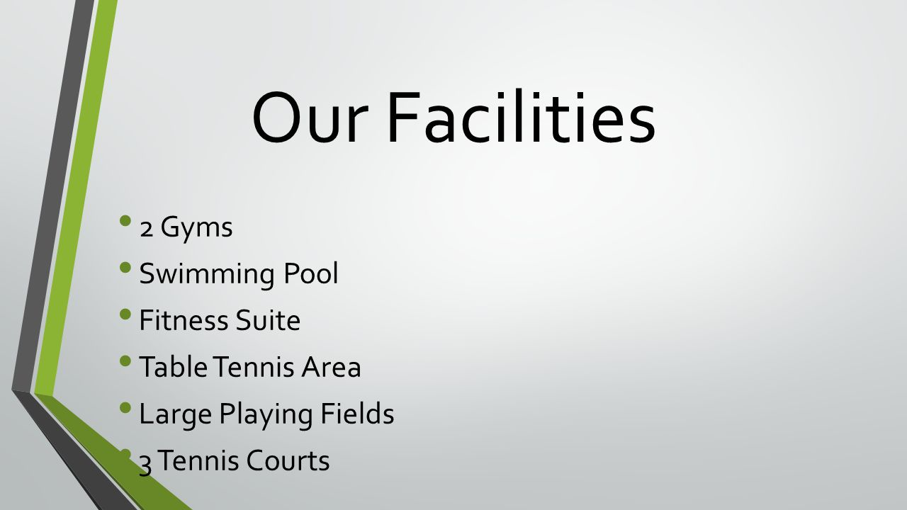 Our Facilities 2 Gyms Swimming Pool Fitness Suite Table Tennis Area Large Playing Fields 3 Tennis Courts