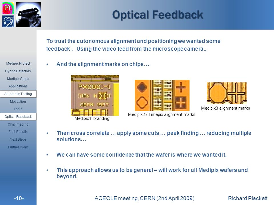 -10-ACEOLE meeting, CERN (2nd April 2009)Richard Plackett Optical Feedback To trust the autonomous alignment and positioning we wanted some feedback.