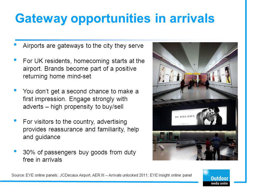 Gateway opportunities in arrivals Airports are gateways to the city they serve For UK residents, homecoming starts at the airport. Brands become part
