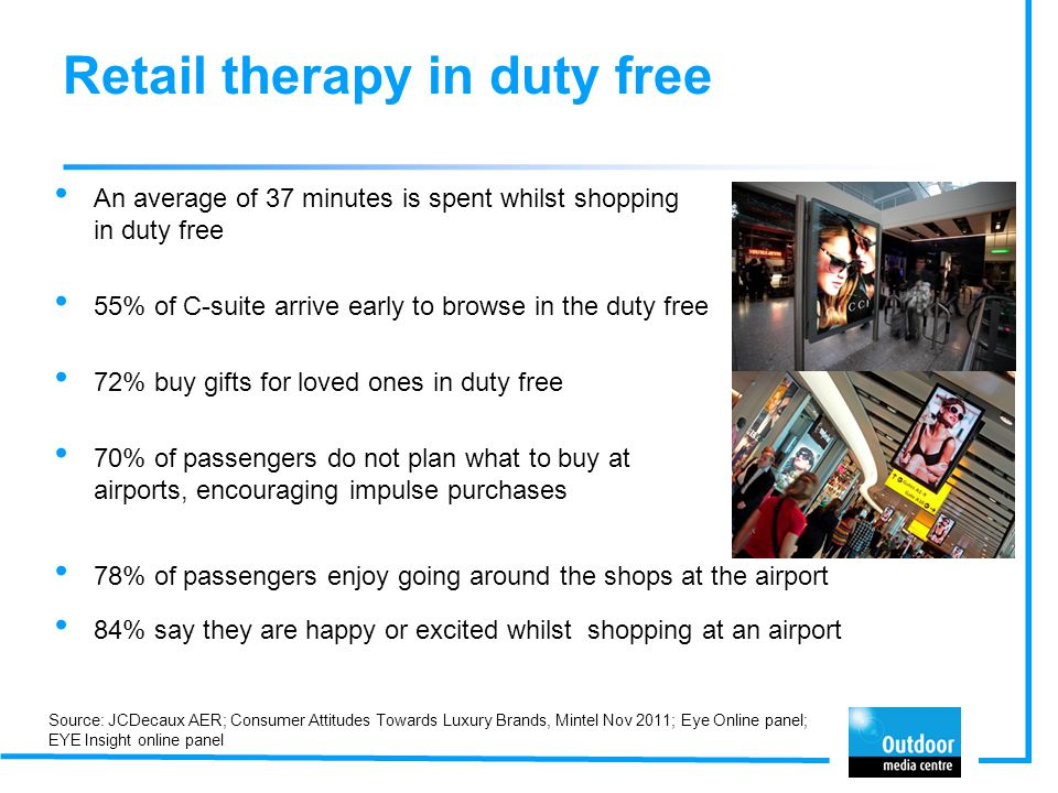 Retail therapy in duty free An average of 37 minutes is spent whilst shopping in duty free 55% of C-suite arrive early to browse in the duty free 72%