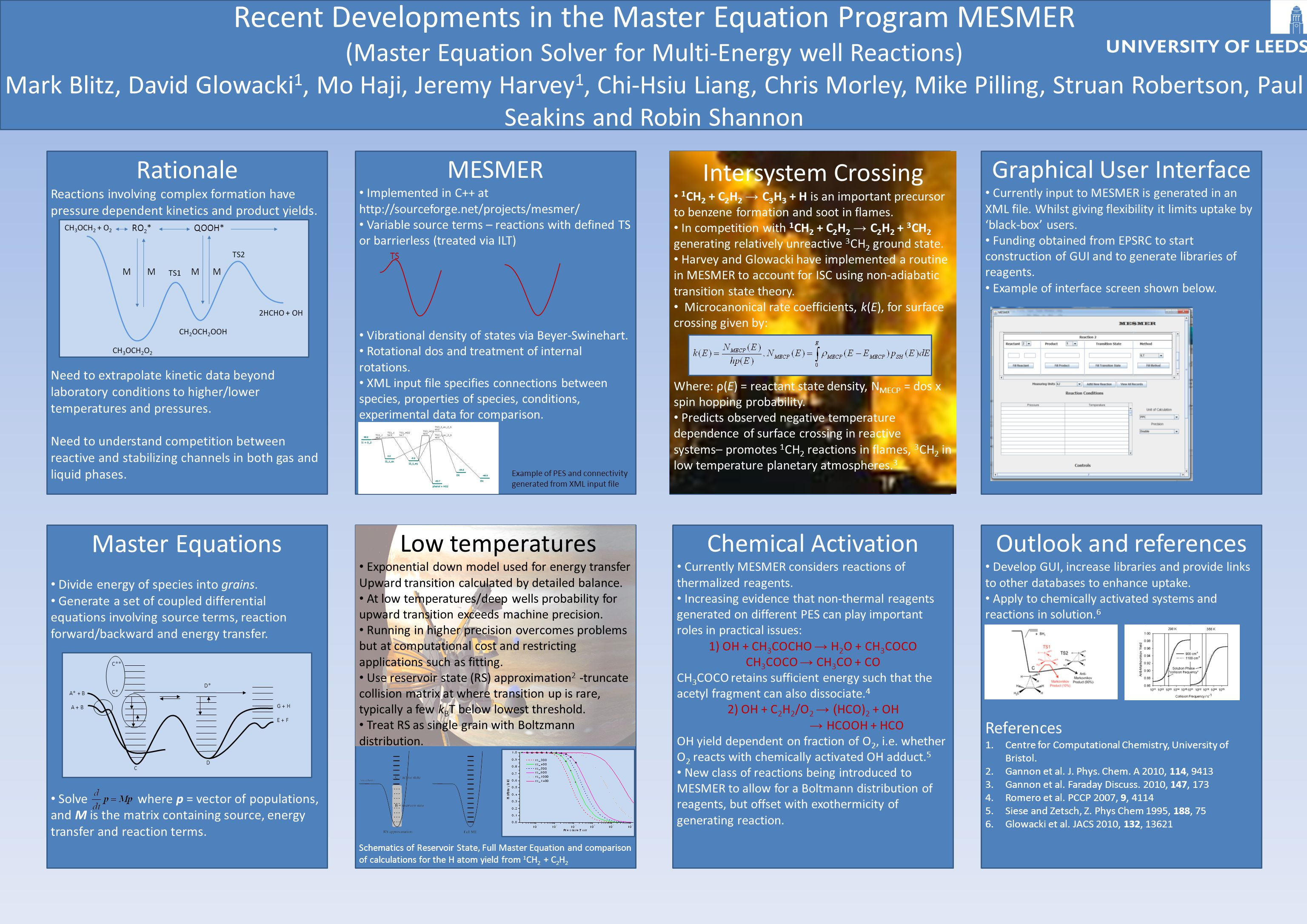 Recent Developments in the Master Equation Program MESMER (Master Equation Solver for Multi-Energy well Reactions) Mark Blitz, David Glowacki 1, Mo Haji, Jeremy Harvey 1, Chi-Hsiu Liang, Chris Morley, Mike Pilling, Struan Robertson, Paul Seakins and Robin Shannon Rationale Reactions involving complex formation have pressure dependent kinetics and product yields.