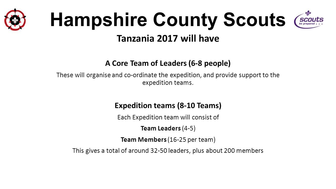 Hampshire County Scouts Tanzania 2017 will have A Core Team of Leaders (6-8 people) These will organise and co-ordinate the expedition, and provide su