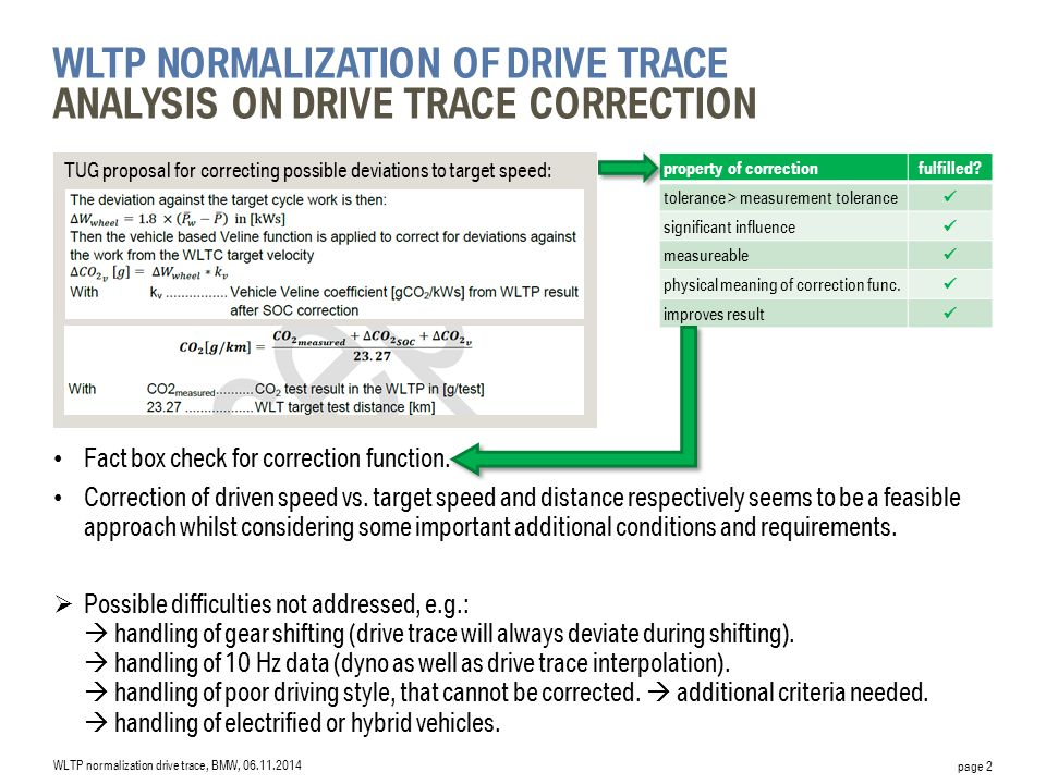 TUG proposal for correcting possible deviations to target speed: page 2 WLTP NORMALIZATION OF DRIVE TRACE ANALYSIS ON DRIVE TRACE CORRECTION Fact box