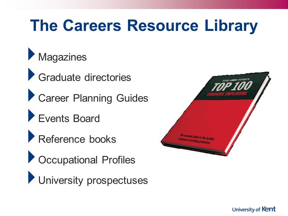  Magazines  Graduate directories  Career Planning Guides  Events Board  Reference books  Occupational Profiles  University prospectuses The Careers Resource Library