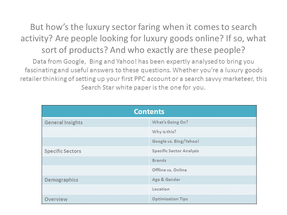 But how's the luxury sector faring when it comes to search activity? Are people looking for luxury goods online? If so, what sort of products? And who
