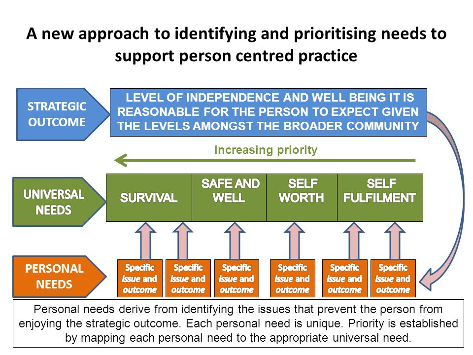 A new approach to identifying and prioritising needs to support person centred practice PERSONAL NEEDS STRATEGIC OUTCOME LEVEL OF INDEPENDENCE AND WELL BEING IT IS REASONABLE FOR THE PERSON TO EXPECT GIVEN THE LEVELS AMONGST THE BROADER COMMUNITY Increasing priority Personal needs derive from identifying the issues that prevent the person from enjoying the strategic outcome.