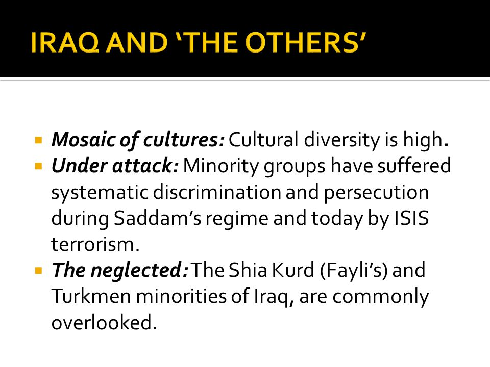 Mosaic of cultures: Cultural diversity is high.  Under attack: Minority groups have suffered systematic discrimination and persecution during Sadda