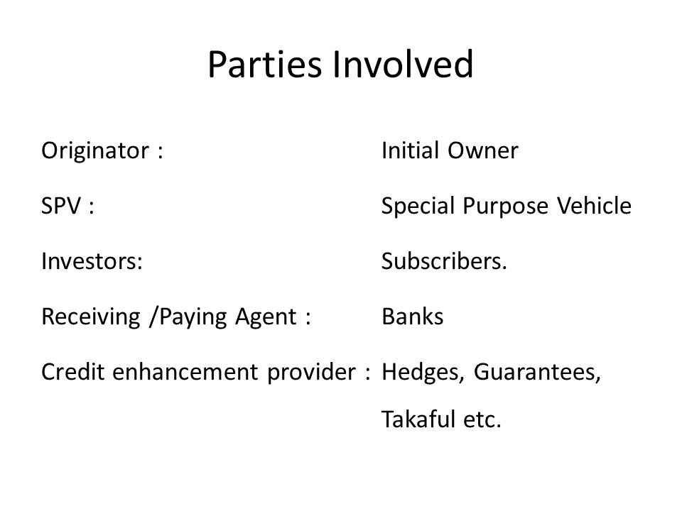 Parties Involved Originator : Initial Owner SPV : Special Purpose Vehicle Investors:Subscribers.