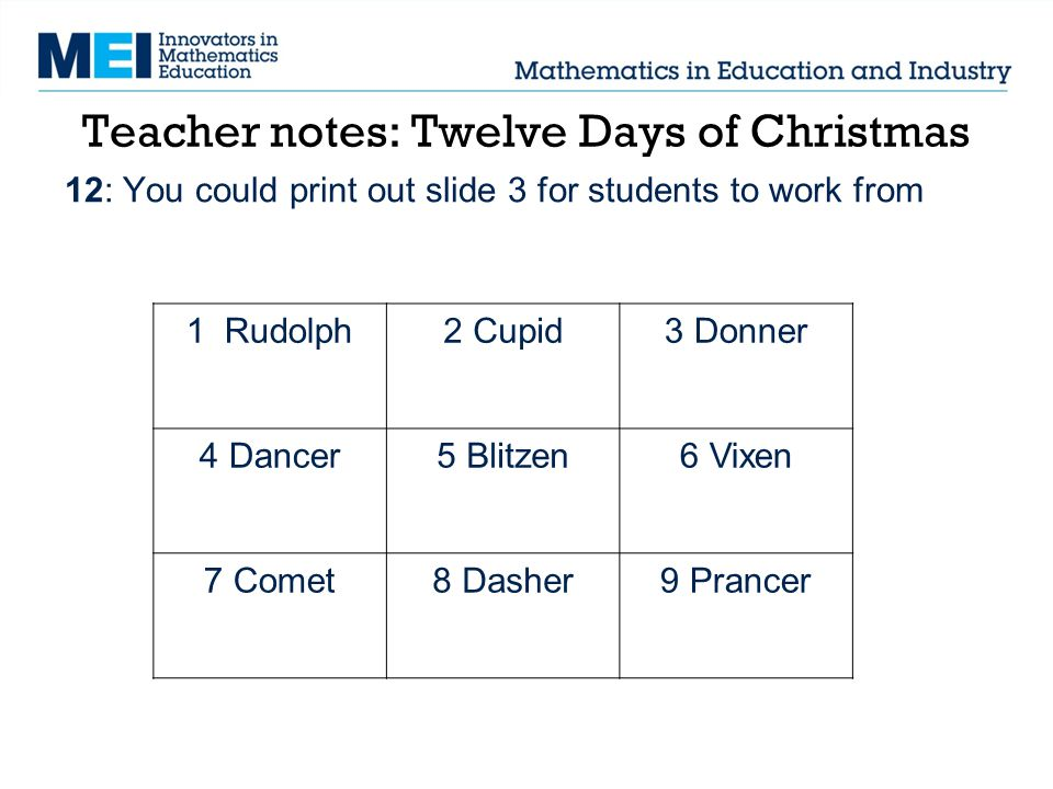 Teacher notes: Twelve Days of Christmas 12: You could print out slide 3 for students to work from 1 Rudolph2 Cupid3 Donner 4 Dancer5 Blitzen6 Vixen 7 Comet8 Dasher9 Prancer
