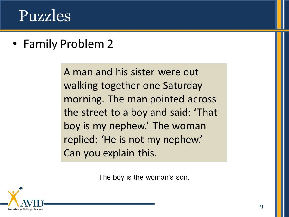 9 Family Problem 2 Puzzles A man and his sister were out walking together one Saturday morning.