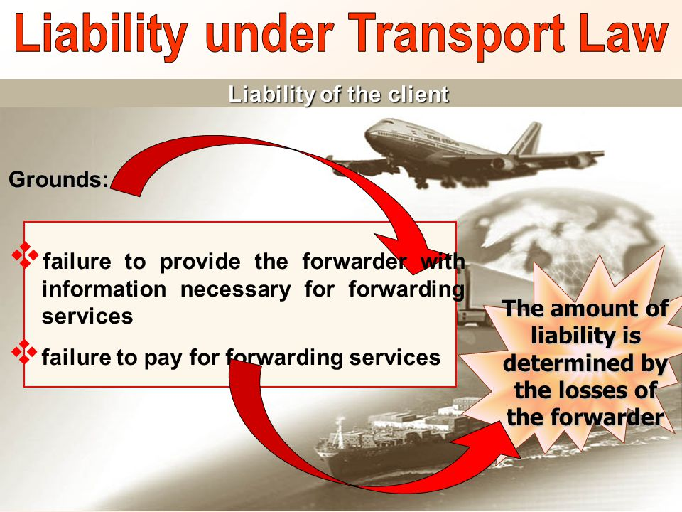 Liability of the client Grounds:  failure to provide the forwarder with information necessary for forwarding services  failure to pay for forwarding services The amount of liability is determined by the losses of the forwarder