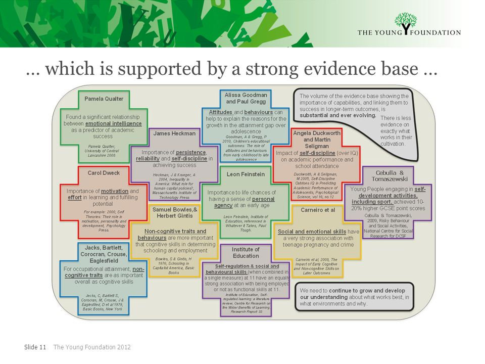 Slide 11 The Young Foundation 2012 … which is supported by a strong evidence base …