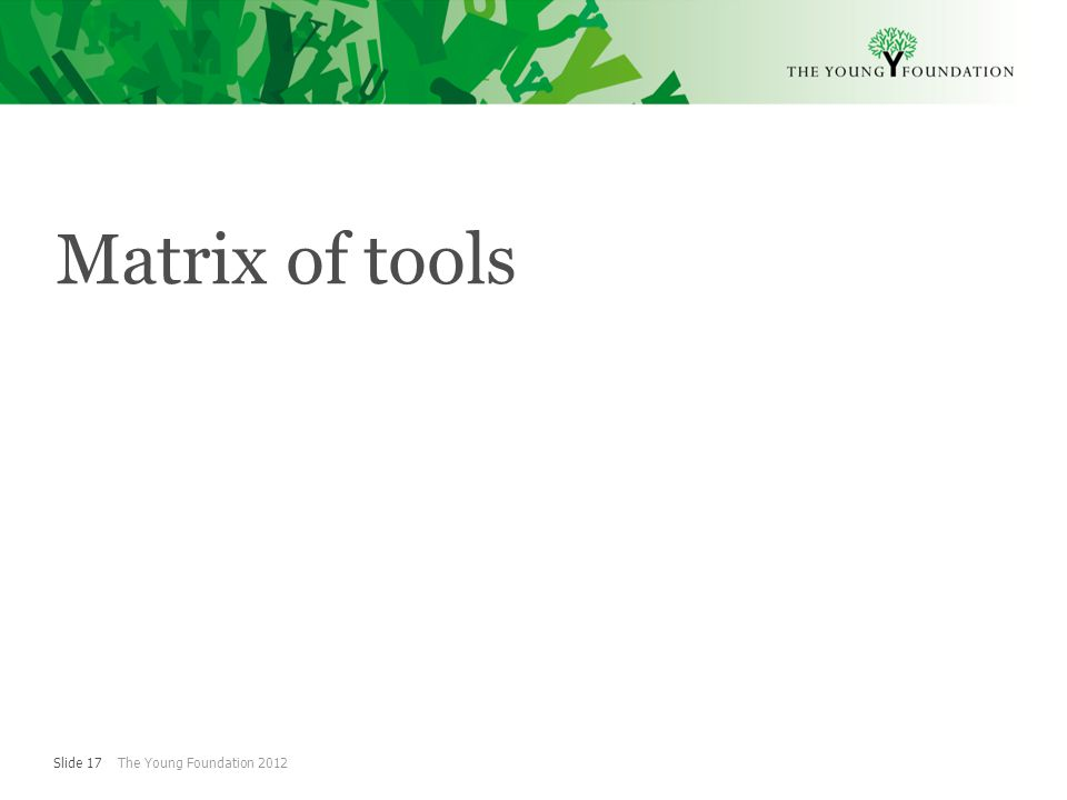 Slide 17 The Young Foundation 2012 Matrix of tools