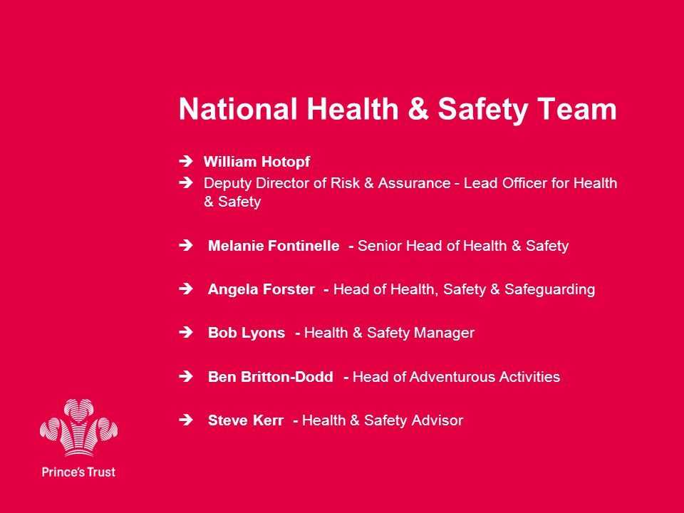 National Health & Safety Team  William Hotopf  Deputy Director of Risk & Assurance - Lead Officer for Health & Safety  Melanie Fontinelle - Senior Head of Health & Safety  Angela Forster - Head of Health, Safety & Safeguarding  Bob Lyons - Health & Safety Manager  Ben Britton-Dodd - Head of Adventurous Activities  Steve Kerr - Health & Safety Advisor