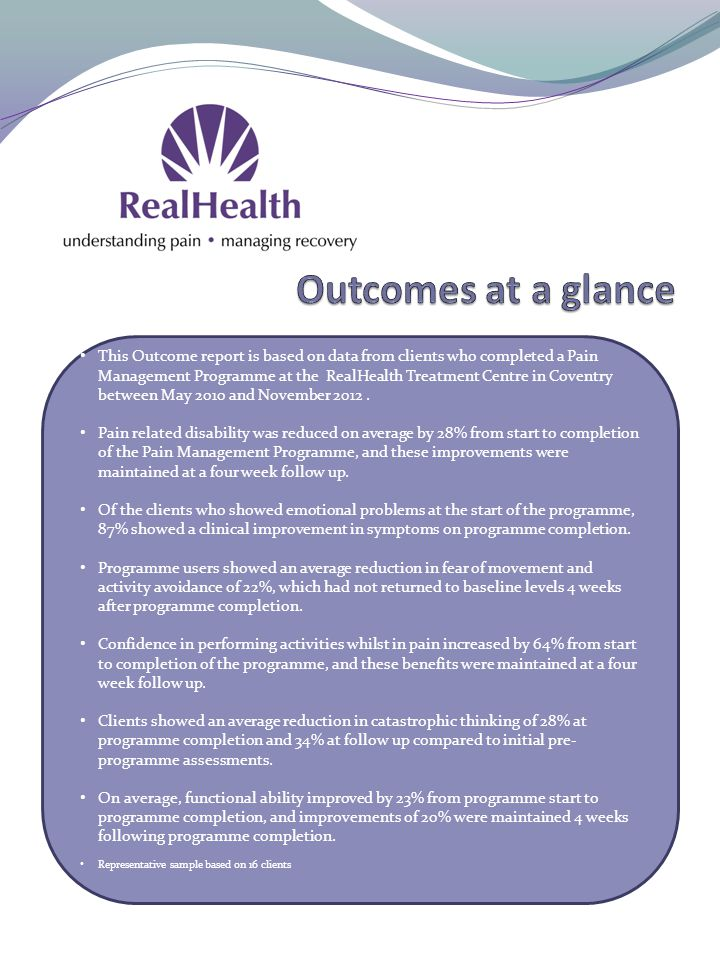 This Outcome report is based on data from clients who completed a Pain Management Programme at the RealHealth Treatment Centre in Coventry between May