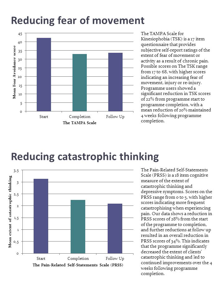 Reducing catastrophic thinking The TAMPA Scale for Kinesiophobia (TSK) is a 17 item questionnaire that provides subjective self-report ratings of the
