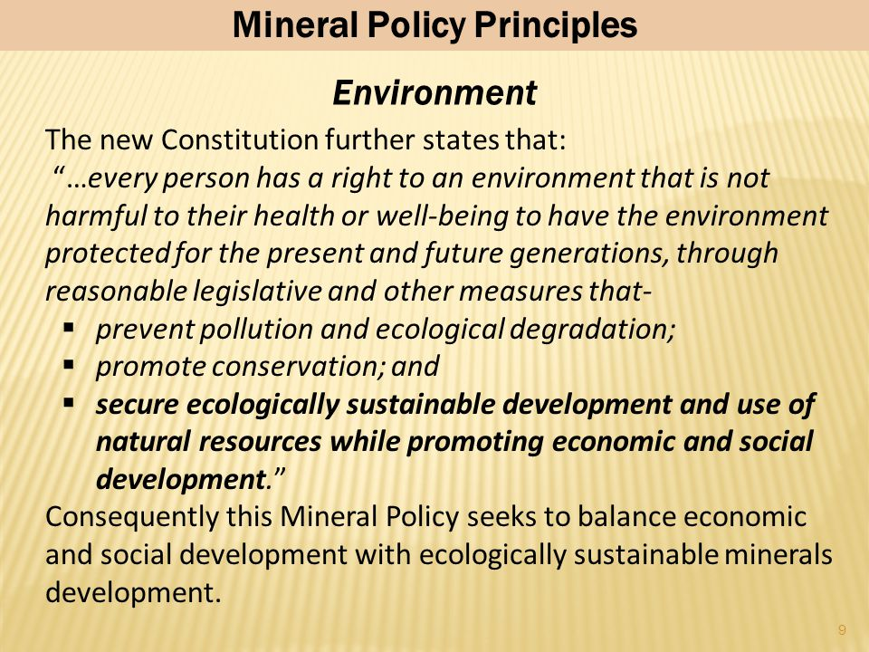 19 Regulatory Framework Government has resolved to overhaul the Mines and Minerals Act and introduce a new state-of-the-art Minerals Development law that will maximise the impact of mineral assets on growth and development, whilst remaining attractive for private sector investment: The new system will attempt to optimise a claims (FIFA) system alongside a price discovery (public tender) system, in accordance with the Constitution The mineral title system will encourage active mineral exploration and exploitation but discourage sterilisation for speculation and/or other purposes.