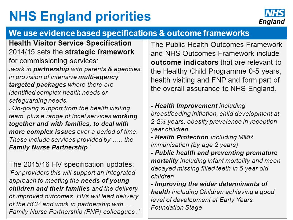 www.england.nhs.uk The Public Health Outcomes Framework and NHS Outcomes Framework include outcome indicators that are relevant to the Healthy Child Programme 0-5 years, health visiting and FNP and form part of the overall assurance to NHS England.