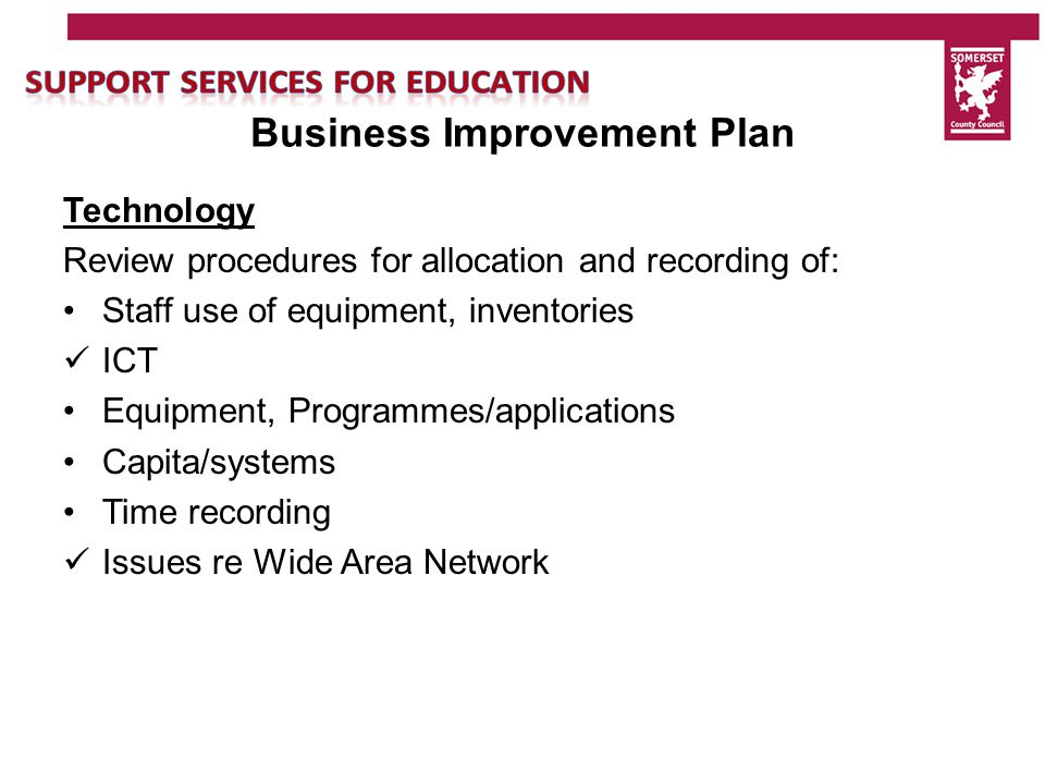 Business Improvement Plan Business Strategy Review costing, pricing, fees and charges – linking to a time recording and what system we want to use Develop Managers understanding of their budgets and where income is held Invoicing and SSTEP development Terms and conditions for traded services Review potential income targets for individual groups Management of profit and loss/margins Scheme of Delegation for SSE