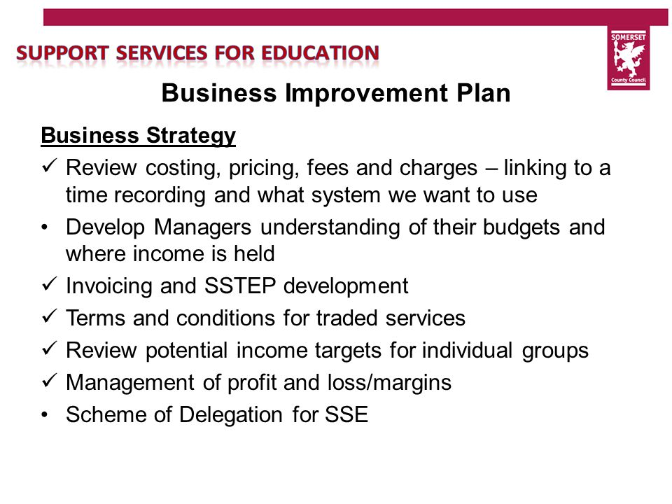 Business Improvement Plan Financial Integration Develop robust contract arrangements: Review terms and conditions for all services trading with schools Development of detailed SLAs with the Local Authority – by end of March 2015 Costing of SLAs for 2015/2016 Ensure links to compact Ensure process to link SLA to staff targets Process for SLA visiting schools to feedback on services/issues