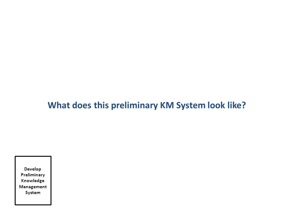 Develop Preliminary Knowledge Management System What does this preliminary KM System look like