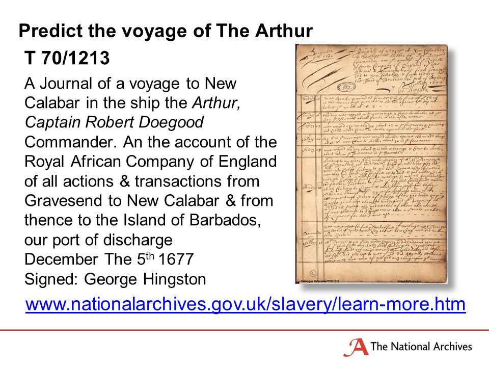 Predict the voyage of The Arthur T 70/1213 A Journal of a voyage to New Calabar in the ship the Arthur, Captain Robert Doegood Commander.