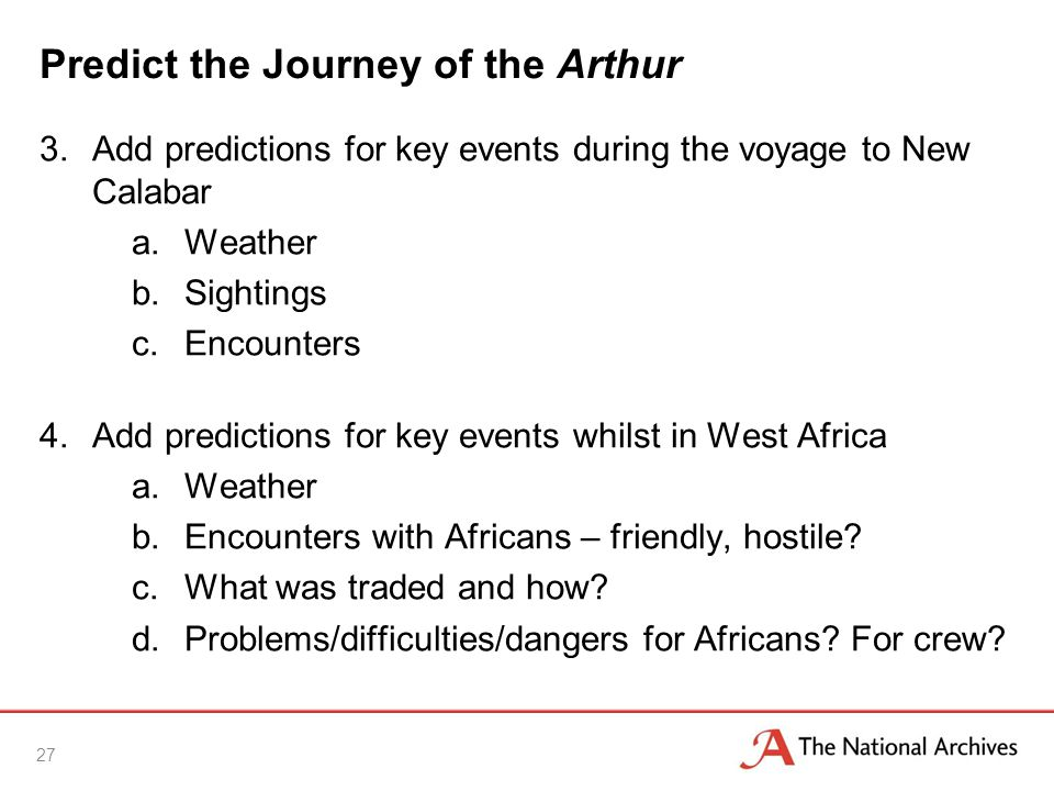 Predict the Journey of the Arthur 3.Add predictions for key events during the voyage to New Calabar a.Weather b.Sightings c.Encounters 4.Add predictions for key events whilst in West Africa a.Weather b.Encounters with Africans – friendly, hostile.