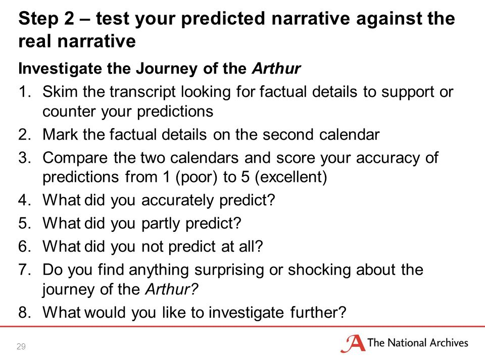 Step 2 – test your predicted narrative against the real narrative Investigate the Journey of the Arthur 1.Skim the transcript looking for factual details to support or counter your predictions 2.Mark the factual details on the second calendar 3.Compare the two calendars and score your accuracy of predictions from 1 (poor) to 5 (excellent) 4.What did you accurately predict.
