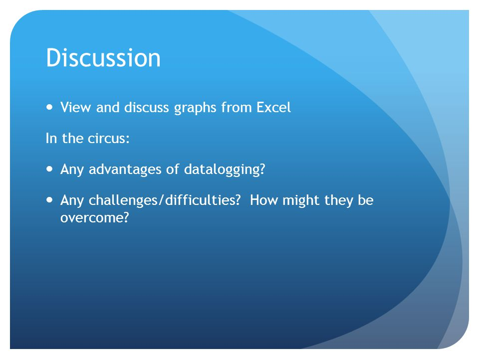Discussion View and discuss graphs from Excel In the circus: Any advantages of datalogging.
