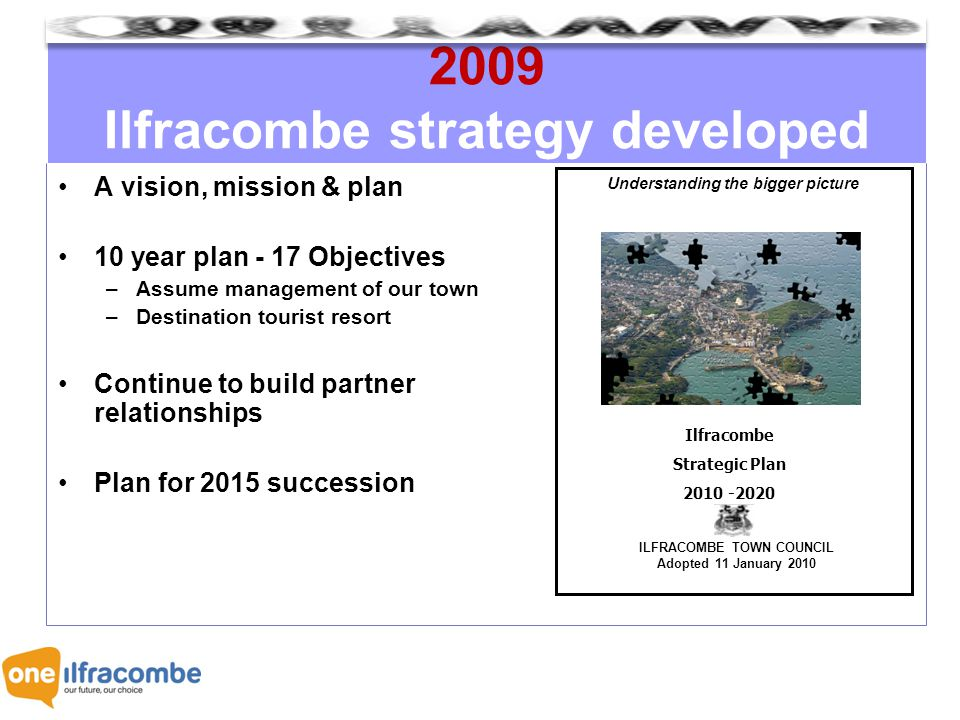 2009 Ilfracombe strategy developed A vision, mission & plan 10 year plan - 17 Objectives –Assume management of our town –Destination tourist resort Continue to build partner relationships Plan for 2015 succession Understanding the bigger picture ILFRACOMBE TOWN COUNCIL Adopted 11 January 2010 Ilfracombe Strategic Plan 2010 -2020