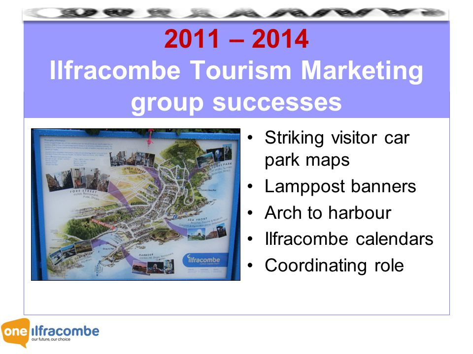 2011 – 2014 Ilfracombe Tourism Marketing group successes Striking visitor car park maps Lamppost banners Arch to harbour Ilfracombe calendars Coordinating role