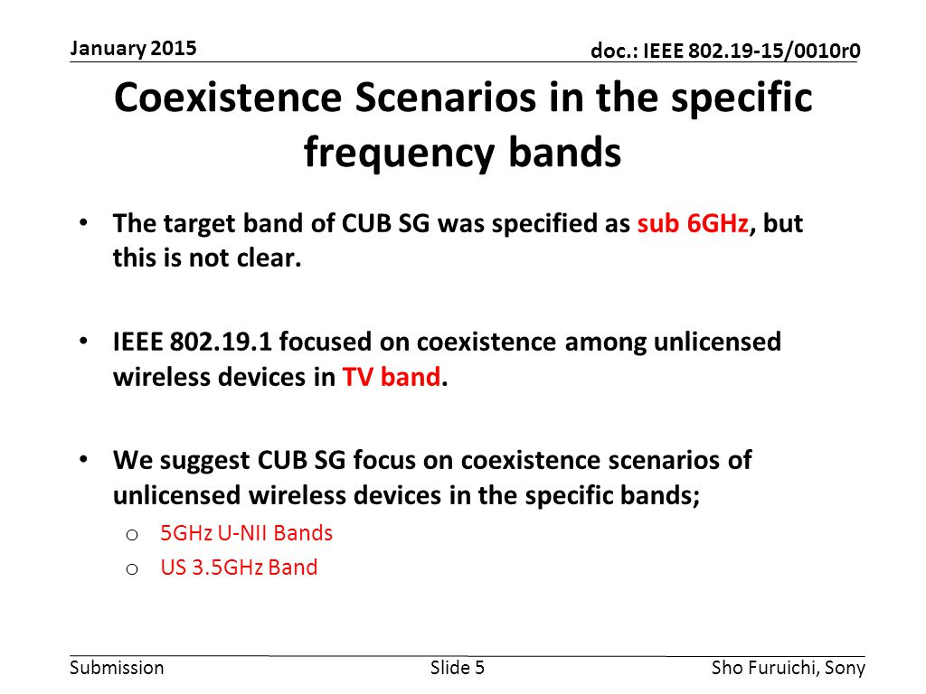Submission doc.: IEEE 802.19-15/0010r0 Coexistence Use Cases -System Coexistence use cases to be studied; 1.Coexistence between managed and unmanaged RATs 2.Coexistence among same/different managed RATs within a single operator 3.Coexistence between same managed RAT with multiple operators 4.Coexistence between different managed RATs with multiple operators Slide 6Sho Furuichi, Sony January 2015 1.2.4.
