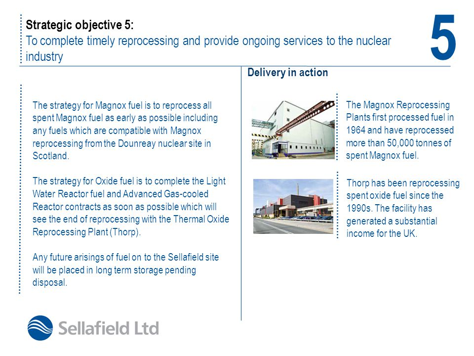 Strategic objective 5: To complete timely reprocessing and provide ongoing services to the nuclear industry Delivery in action 5 The strategy for Magn