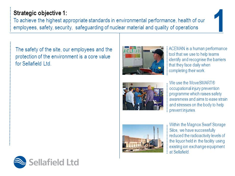 Strategic objective 2: To invest intelligently in infrastructure to ensure security and operational resilience Delivery in action Deployment of a Guard Force for the Sellafield site.