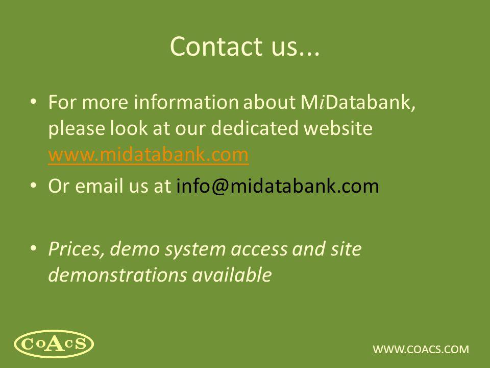 WWW.COACS.COM Contact us...