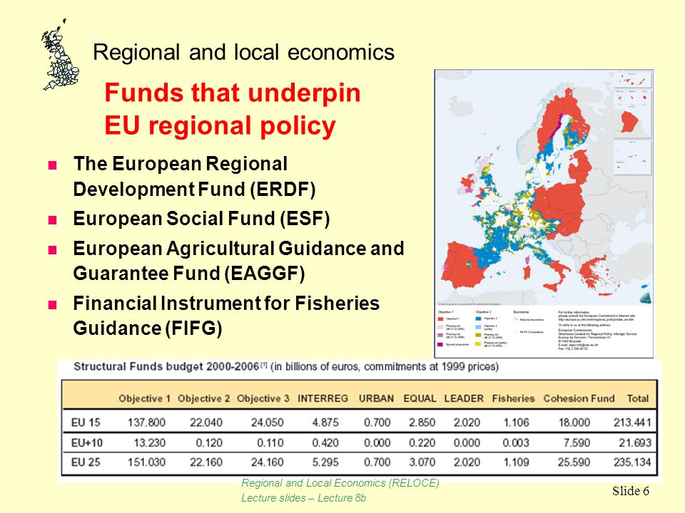 Regional and local economics Slide 6 n The European Regional Development Fund (ERDF) n European Social Fund (ESF) n European Agricultural Guidance and
