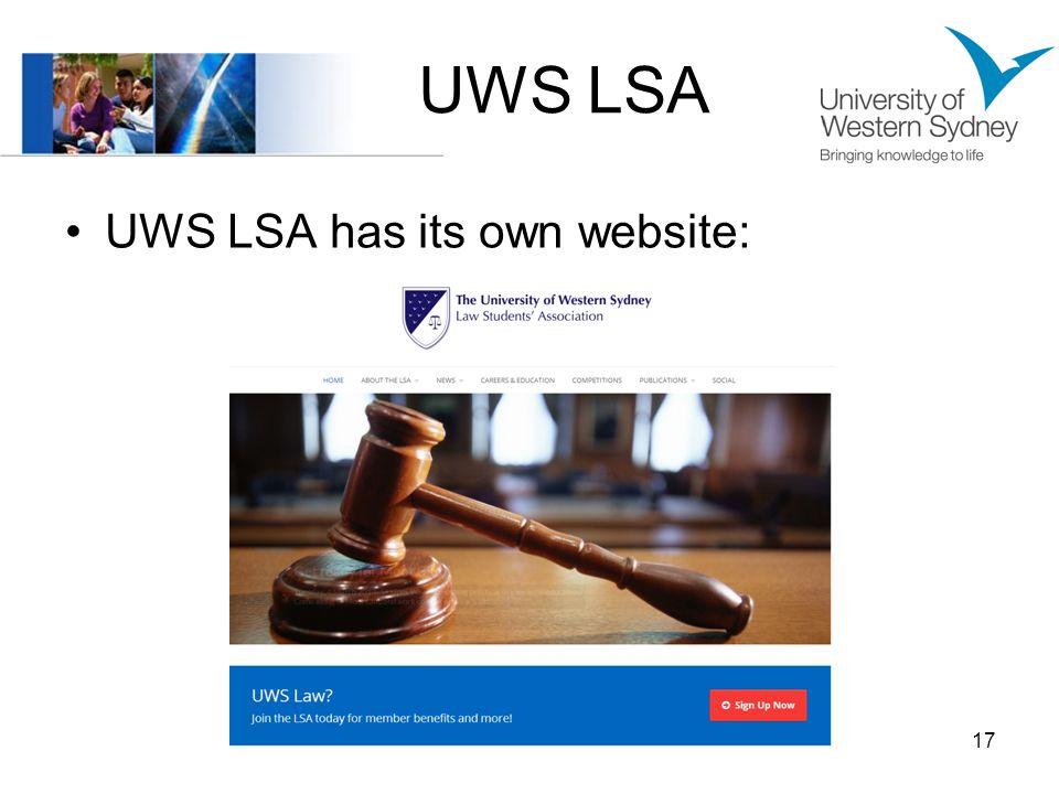 UWS LSA UWS LSA has its own website: 17