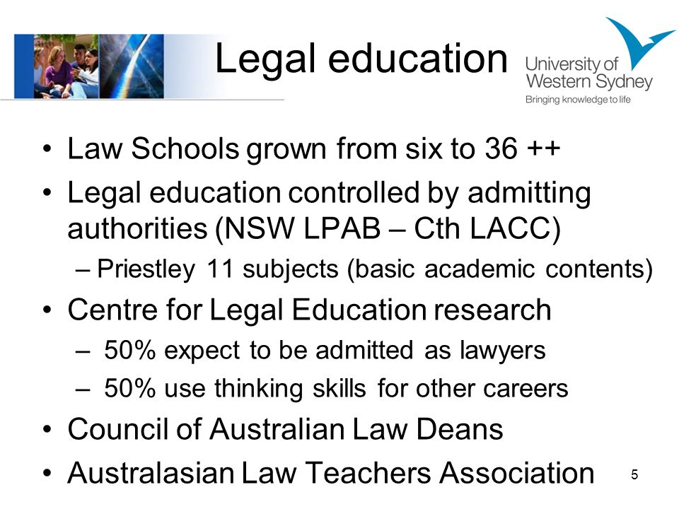 Legal education Law Schools grown from six to 36 ++ Legal education controlled by admitting authorities (NSW LPAB – Cth LACC) –Priestley 11 subjects (basic academic contents) Centre for Legal Education research – 50% expect to be admitted as lawyers – 50% use thinking skills for other careers Council of Australian Law Deans Australasian Law Teachers Association 5