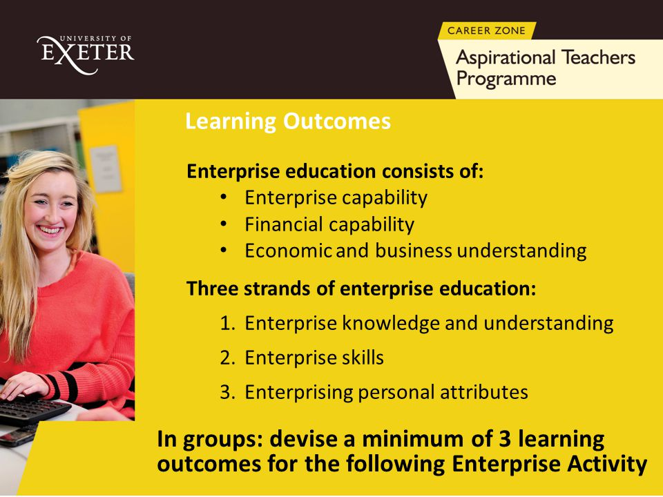 Enterprise education consists of: Enterprise capability Financial capability Economic and business understanding Three strands of enterprise education
