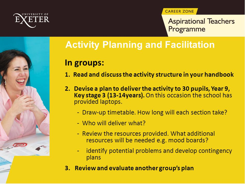 Activity Planning and Facilitation In groups: 1. Read and discuss the activity structure in your handbook 2.Devise a plan to deliver the activity to 3