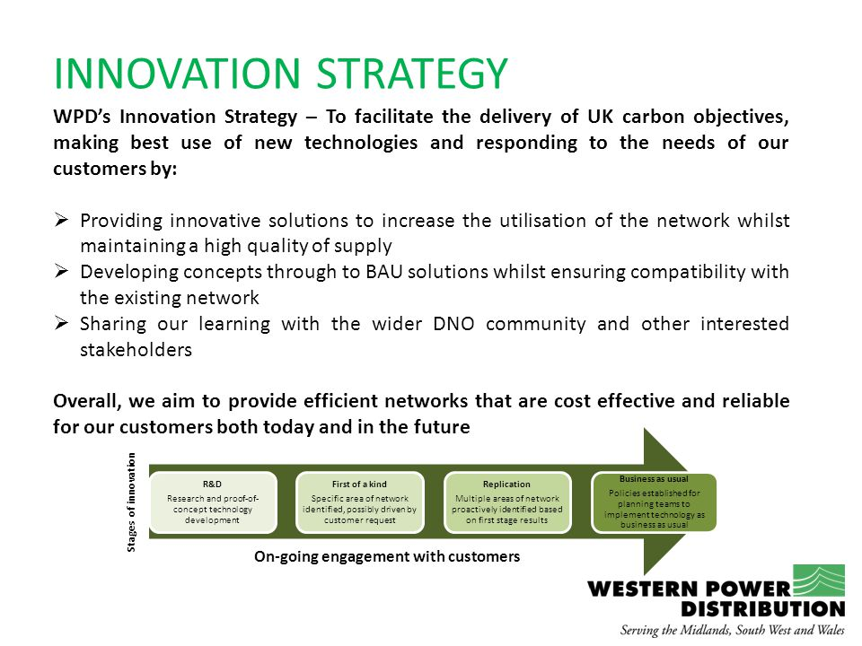 INNOVATION STRATEGY WPD's Innovation Strategy – To facilitate the delivery of UK carbon objectives, making best use of new technologies and responding to the needs of our customers by:  Providing innovative solutions to increase the utilisation of the network whilst maintaining a high quality of supply  Developing concepts through to BAU solutions whilst ensuring compatibility with the existing network  Sharing our learning with the wider DNO community and other interested stakeholders Overall, we aim to provide efficient networks that are cost effective and reliable for our customers both today and in the future R&D Research and proof-of- concept technology development First of a kind Specific area of network identified, possibly driven by customer request Replication Multiple areas of network proactively identified based on first stage results Business as usual Policies established for planning teams to implement technology as business as usual On-going engagement with customers Stages of innovation