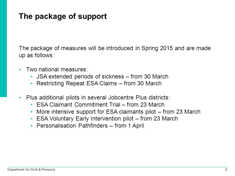 3 Department for Work & Pensions The package of support The package of measures will be introduced in Spring 2015 and are made up as follows: Two nati