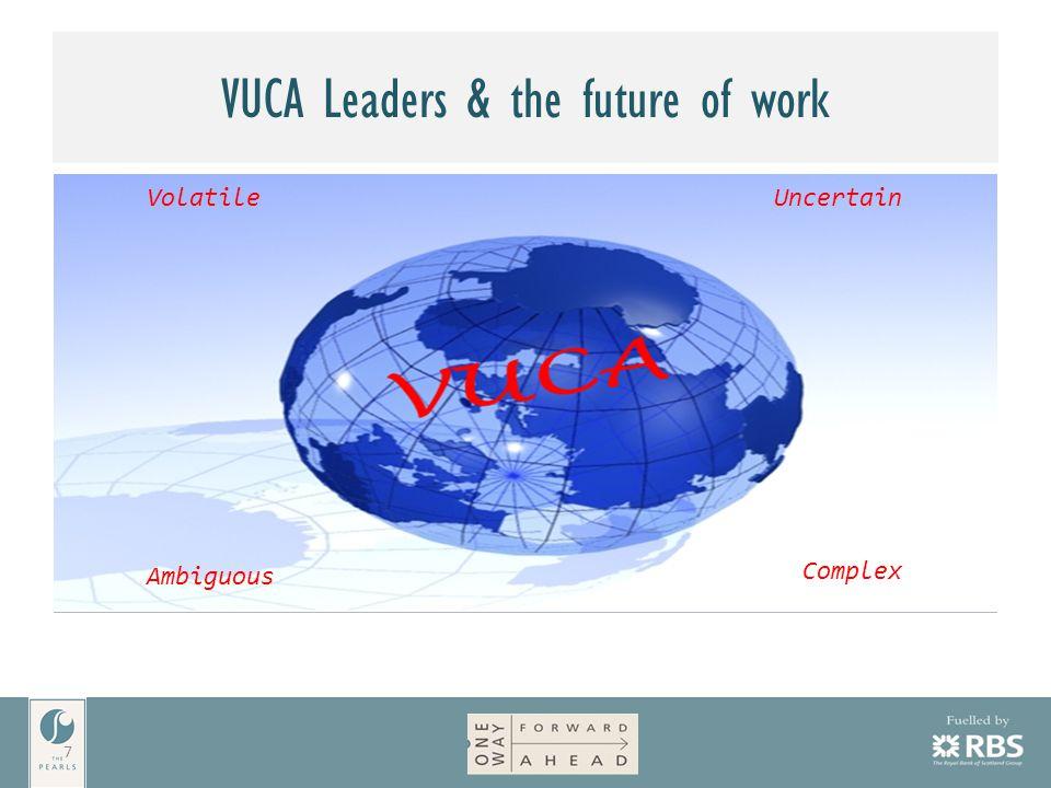 VUCA Leaders & the future of work 7 VolatileUncertain Complex Ambiguous