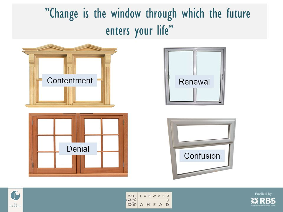 9 Change is the window through which the future enters your life Contentment Denial Renewal Confusion