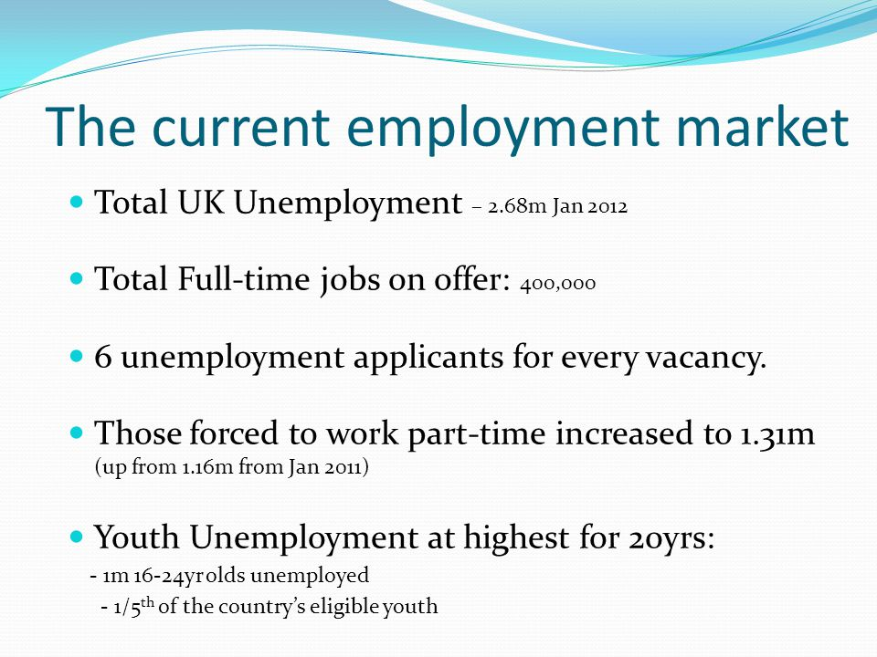 The current employment market Total UK Unemployment – 2.68m Jan 2012 Total Full-time jobs on offer: 400,000 6 unemployment applicants for every vacancy.