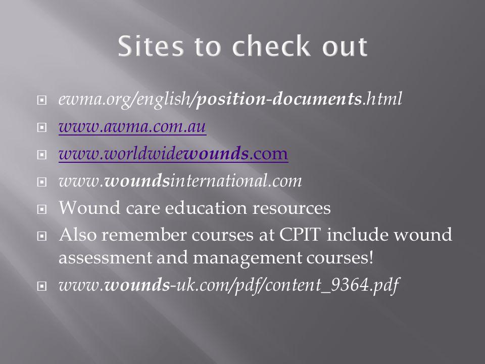 ewma.org/english/ position - documents.html  www.awma.com.au www.awma.com.au  www.worldwide wounds.com www.worldwide wounds.com  www. wounds inte